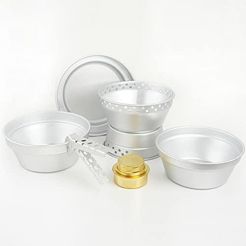 Juego de ollas y sartenes plegables livianos de aluminio, juego de cookware, juego de cocinas de mochilero, para caminatas familiares conjuntos de utensilios de cocina ligeros de picnic,Plata,7 pcs
