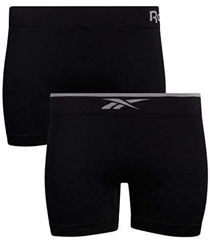 Reebok Damen Unterwäsche – Nahtlose Mikrofaser Boyshort Panties (2er-Pack) - Schwarz - Large