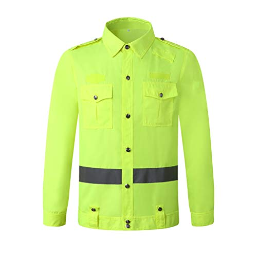 Autumn veiligheidsvest reflecterende vesten met lange mouwen Duty Dienst Werk Shirt Suit Road Traffic Safety Clothing Manager Fluorescent Green XMJ (Size : XL)
