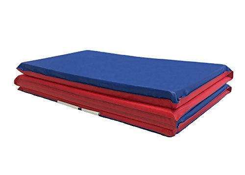 KinderMat, 5/8' Thick with Pillow, 4-Section Rest Mat, 45' x 19' x 5/8', Red/Blue, Great for School, Daycare, Travel, and Home, Made in The USA