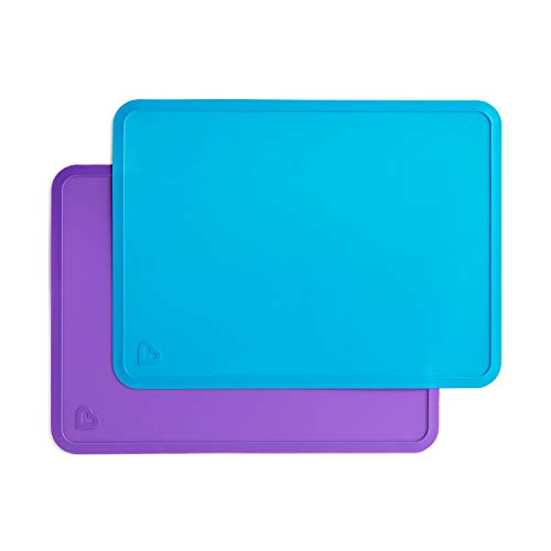 Munchkin - Manteles individuales de silicona para niños, 2 unidades, color azul y morado