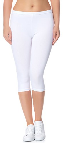 Ladeheid Leggings Donna 3/4 LAMA01 (Bianco11, XS/S)