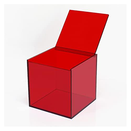 Caja de almacenamiento de escritorio para mejorar el hogar, caja de almacenamiento de cosméticos lápiz labial oficina pequeña transparente (color: rojo, tamaño: M)