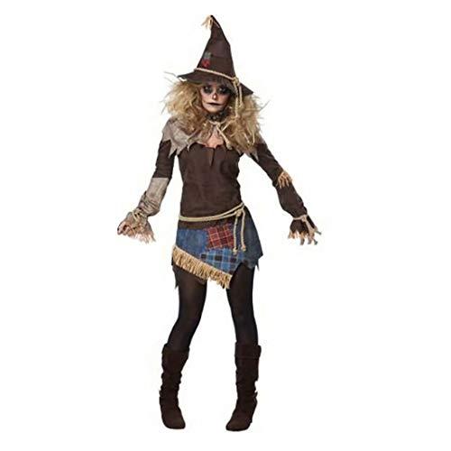 zhangruisfs Damen Kostüme Gruselige Vogelscheuche Kostüm Horror Zombie Vogelscheuche Cosplay Kostüm, Zombie Weiblicher Geist Dämon Vampir Halloween Party Cosplay Kostüm