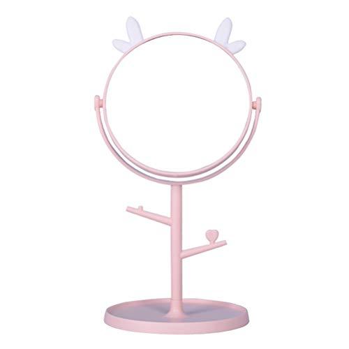 Lurrose Miroir de Maquillage Bureau Miroir Rond Double Face avec Support Miroir de Table avec Porte-Bijoux pour Cadeau Femme