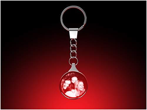 GLASFOTO.COM, Glasfoto Schlüsselanhänger rund, 30 x 30 x 5 mm, mit Ihrem eigenen Foto als individuell anpassbares Geschenk, Kristallglas Innengravur in Premiumqualität