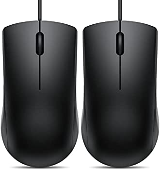 2-Pack Vic Tech FL 3-Button USB Wired Computer Mouse (Black)