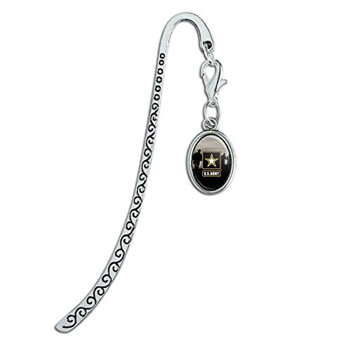 U.S. Army Logo with Soldier Silhouettes Metal Bookmark Page Marker with Oval Charm