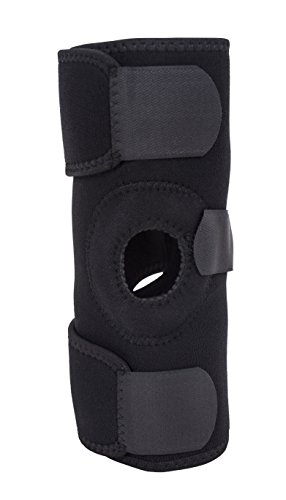 Roscoe Medical Knee Support Brace, Black, Adjustable Size Fits Either Knee, Provides Stability & Support for Minor Strains, Sprains & Arthritic Conditions