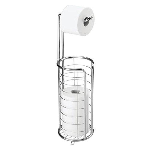 mDesign Toilettenpapierhalter stehend - moderner Papierrollenhalter fürs Badezimmer - rostfreier Klopapierhalter aus poliertem Edelstahl - silber