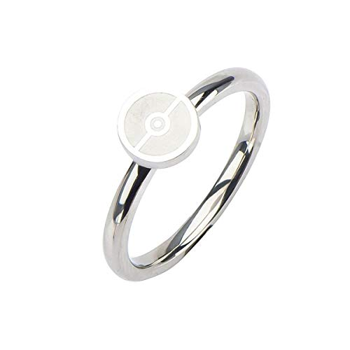 Pokemon Pokeball Stainless Steel Women's Ring, Size 8