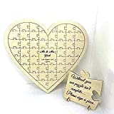 FSSS Ltd Personalised birch plywood 67 piece heart shaped wedding guest book jigsaw puzzle wooden anniversary birthday gift shabby shic
