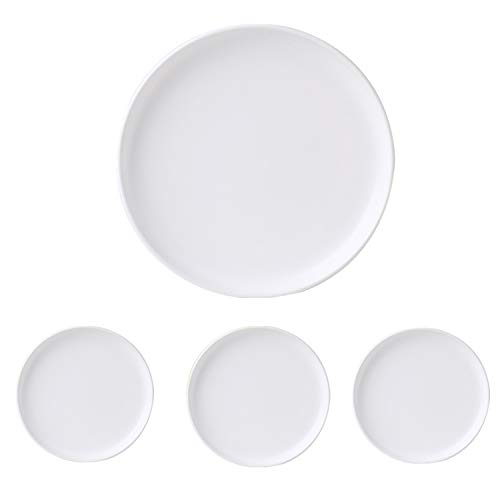 Swuut Matte Ceramic Appetizer Plates 6 Inch,Set of 4, Dishwasher Christmas Holiday Snack Bread Butter Plates (6in, White)