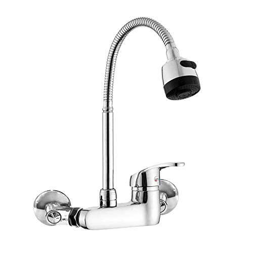 Wall Mount Faucet Kitchen 6 Inch Center Polished Chrome...