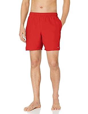 "NIKE Swim Men's Solid Lap 7"" Volley Short Swim Trunk, University Red White, Large"
