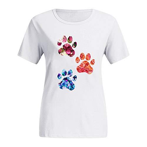 YANFANG Blusas de Moda,Camisetas Estampadas con Cuello Redondo y Tallas Grandes para Mujer, Camisetas con gráfico de Manga Corta con Estampado de Gato Deportivo,Fitness,devertidas