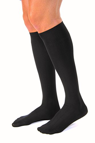JOBST forMen Casual 20-30 mmHg Knee High Compression Socks, Black, Medium