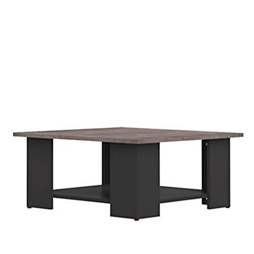Mesa baja cuadrada, tablero de partículas, efecto negro y hormigón, 89 x 67 x 30,5 cm (A- D-A)