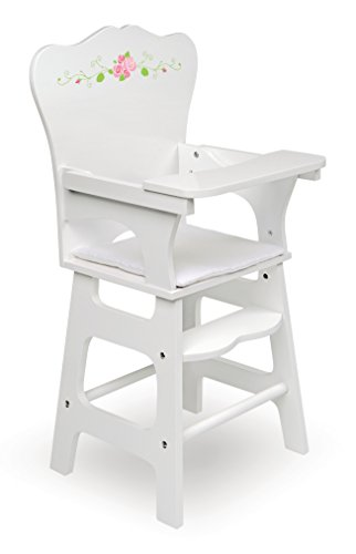 Badger Basket White Rose Doll High Chair (fits American Girl Dolls), White