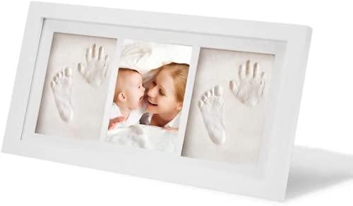 LAZY SPORTS Marco de huellas Kit de Marco de foto de madera Para Manos y Huellas de bebé para niños y niñas. No se agrieta al secar. (Blanco-Arcilla-2)