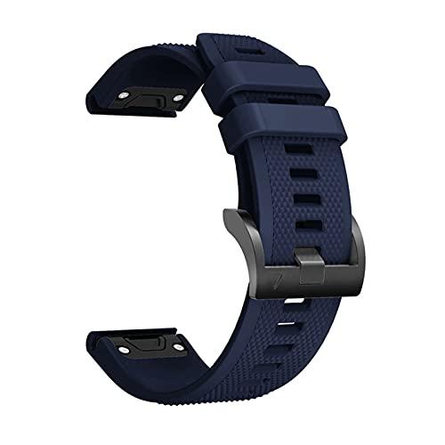 LLMXFC Correa de silicona para Garmin Fenix 6 6S 6X Pro para Garmin 5 5S 5X Plus correa de reloj de liberación rápida (color azul oscuro, tamaño: 22 mm)