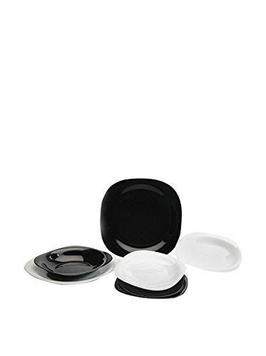 Juego de platos carine luminarc para 6 personas, 18 unidades, de color blanco y negro