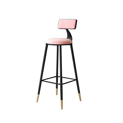 HUAJING Asiento de Taburete de Bar, Silla Alta Simple con Respaldo, Dos Alturas de 65 cm y 75 cm Disponibles, para Pub, Cocina, mostrador: Azul, Rosa, Gris (Color : Pink 75cm)
