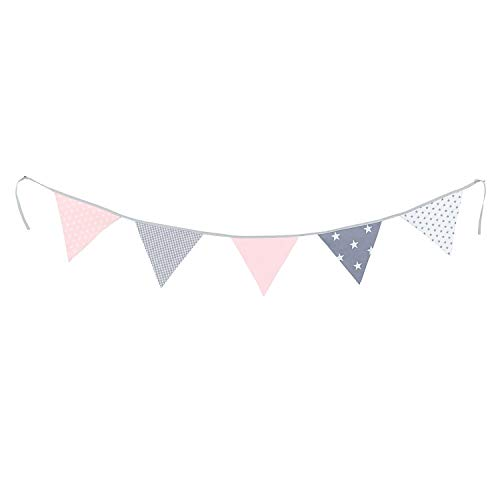 100% Cotton Fabric Bunting Flag Garland Pennant Banner by ULLENBOOM | Star/Checkered | Baby Shower/Party/Nursery | 6 Ft - Girls Pink/Grey