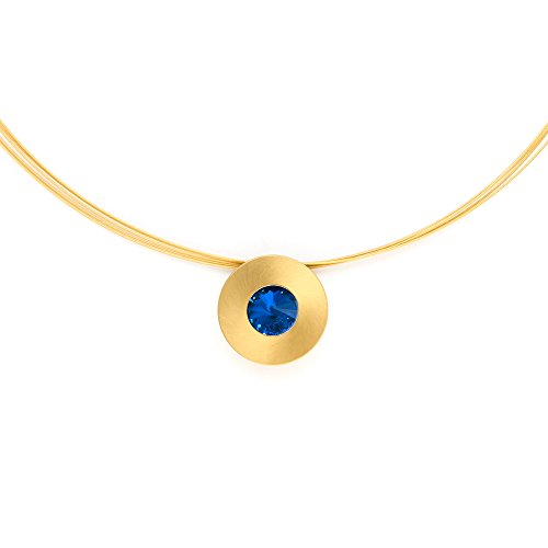 Heideman Halskette Damen Lumen aus Edelstahl gold farbend matt Kette für Frauen mit Stein Kristall sapphire blau im Fantasie Edelsteinschliff