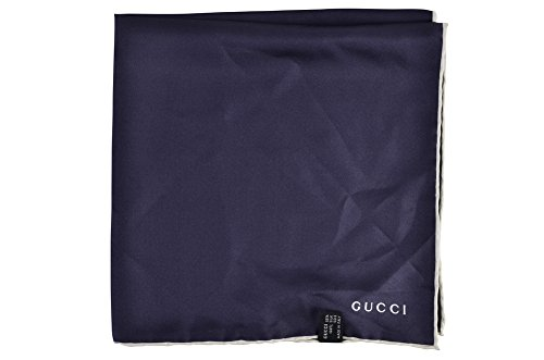 Gucci Tuch Unisex Blau Purpur Unifarben Seide 45 cm x 4 cm