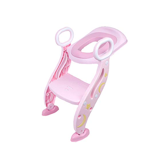 補助便座 子供用 ステップ付き トイレトレーニング おまる トイレ 滑り止め 高さ調節可能 柔らかいクッション 取外し可能 尿漏れ防止 折りたたみ式 安心 踏み台 ステップ 組み立て簡単 ピンク ピンクPU