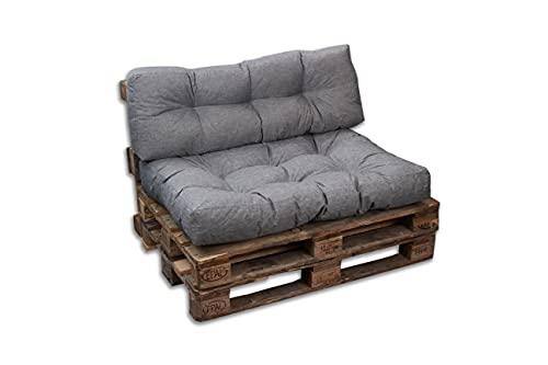 Cojines/colchón de paleta para sofá, sillón, asiento para paleta euro, asiento y respaldo (gris, juego 1 respaldo 120 x 40 cm + 1 asiento 120 x 80 cm)