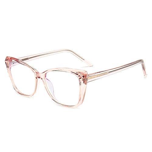 SUNGAIT Ojo de Gato Gafas Luz Anti-azul Gafas con Montura Geométrica Corte de Diamante(Marco Rosa Transparente)