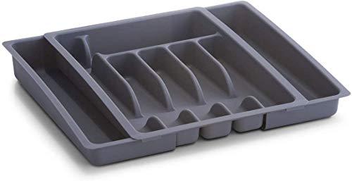 Zeller 24887 Besteckkasten, ausziehbar, Kunststoff / 29-50 x 38 x 6.5, grau