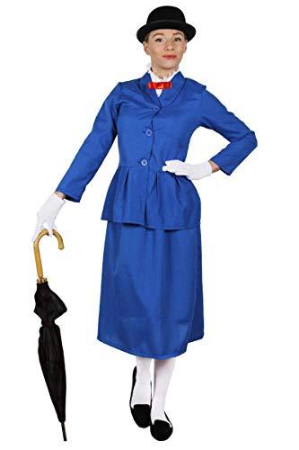 ILOVEFANCYDRESS Disfraz DE NIÑERA Victoriana para Mujer + BOMBÍN TV PELÍCULA Personaje Libro Semana Chaqueta Azul con Cuello Blanco Adjunto Y Pajarita ROJA Y Falda Larga Azul (Mediana)