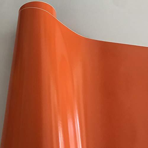QiuKui Decals Accessories 50X150 / 200/300 / 500CM Glossy Black Vinylfolie mit Luftblase Freies Gloss Black Car Wrap Folie Auto-Aufkleber Aufkleber (Color Name : Orange, Größe : 50cm x 300cm)