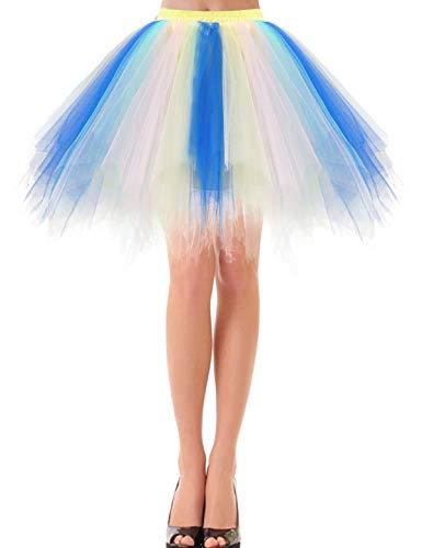 50er Jahre Petticoat Rockabilly Rock Petticoat Karneval Retro Tutu Ballet Tüllrock Crinoline Karneval kostüme Cosplay Rock Rockabilly Tanz Ballett Blue-Champagne M
