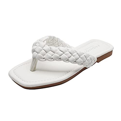 NUGKPRT chanclas,Verano elegante moda mujer zapatillas sólido cuero de la pu correa tejida al aire libre chanclas planas zapatos de playa modernos para mujer 7.5 BeigeWhite