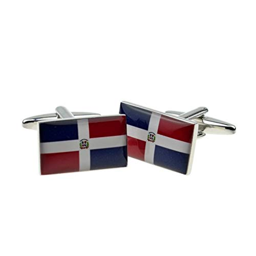 Dominicaanse Republiek Vlag Manchetknopen Met Geschenkdoos & Verzonden Uit het Verenigd Koninkrijk