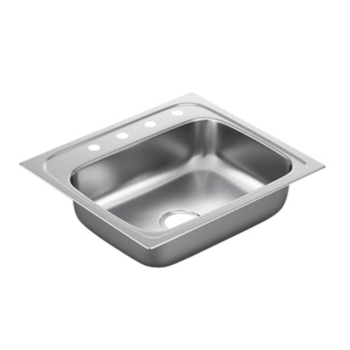 Moen G221984 2200 Series 22 Gauge Single Bowl Drop In Sink, Stainless Steel
