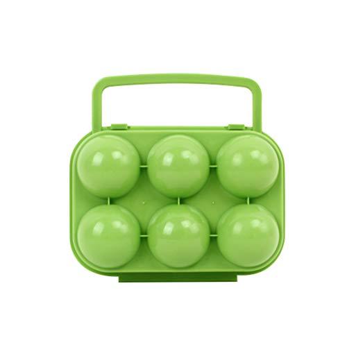 BESPORTBLE Eier Aufbewahrungsbox mit Griff Tragbare Eierbox Eierbehälter Eierträger Vorratsdose für Outdoor Picknick Camping Wandern 6 Gitter (Grün)