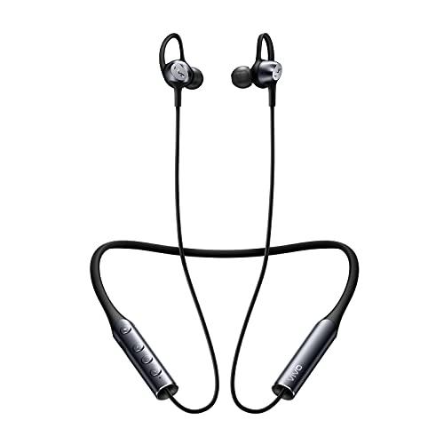 vivo Auriculares Deportivos Inalámbricos con Banda para El Cuello, LDAC para Sonido HD y Audio de Alta Resolución, Cancelación de Ruido, Carga Rápida, Auriculares Bluetooth 5.0, Gris Oscuro