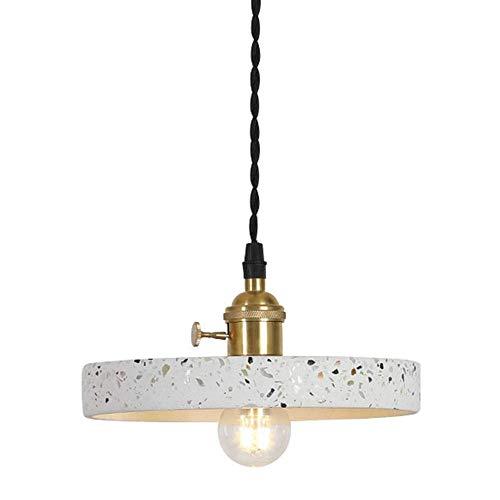 OWEM Terrazzo-Anhänger-Licht-Lampe Verstellbare Kronleuchter Montage Moderne Hängeleuchten Interior Design Gastronomie Tischlampe E27 Messing-Lampen-Halter Hanging Draht Geflochten