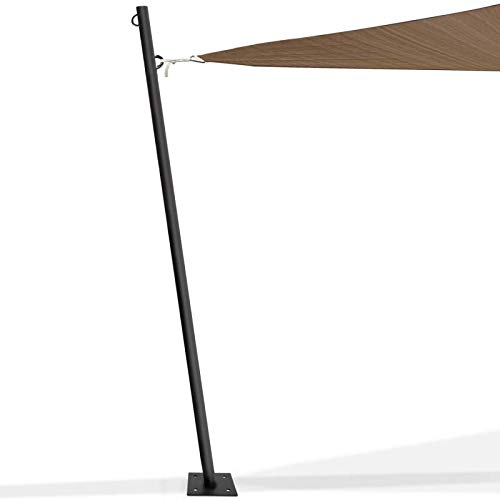 IDMarket - Mât de Fixation pour Voile d'ombrage H. 220 cm x Ø 32 mm Poteau et Base Acier