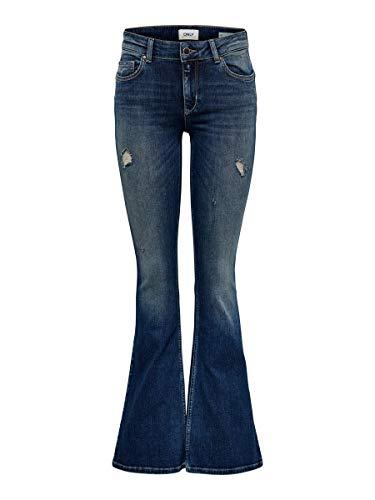 ONLY Damen Flared Jeans ONLJo Reg 2832Dark Blue Denim