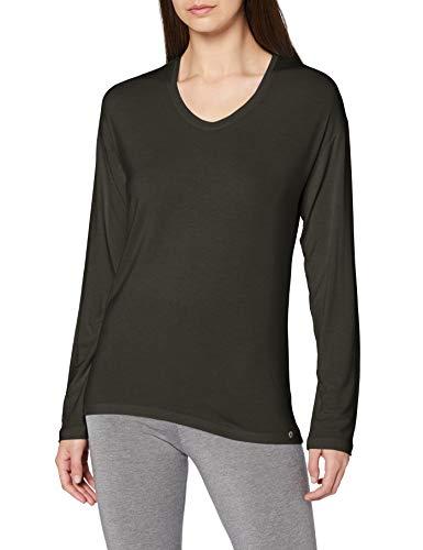 Schiesser Damen Mix & Relax Shirt 1/1 Arm Schlafanzugoberteil, Oliv, 40