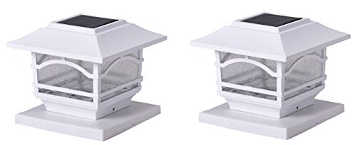 Maxsa 41971 Solar-Powered Dusk Until Dawn Solar Post Cap and Deck Railing Lights, White, 2 Pack