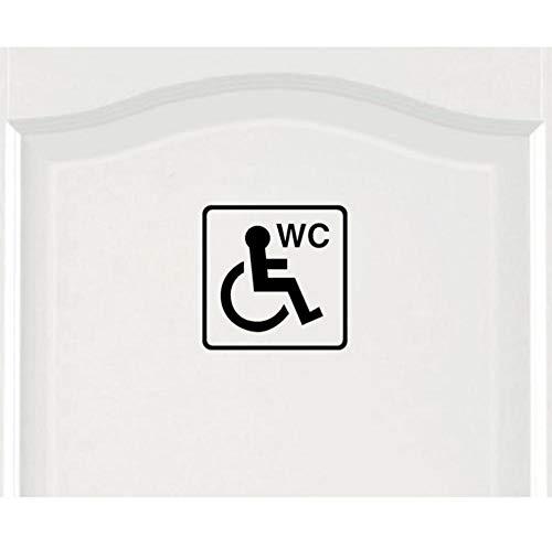Muursticker Cartoon rolstoel met handicap, uniseks, deursticker, grafische zwart, 18 x 18 cm, 2 stuks