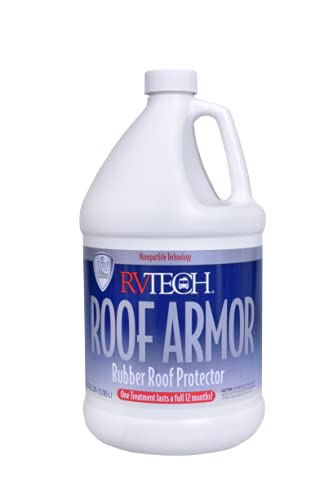 RVTECH Roof Armor RV Rubber Roof Protectant - Anti-Static Dirt Waterproof Prevents Fading and Cracking Reduces Chalking Non-Abrasive Pro-Strength Protects Against Sun Coating Treatment | 1 Gallon
