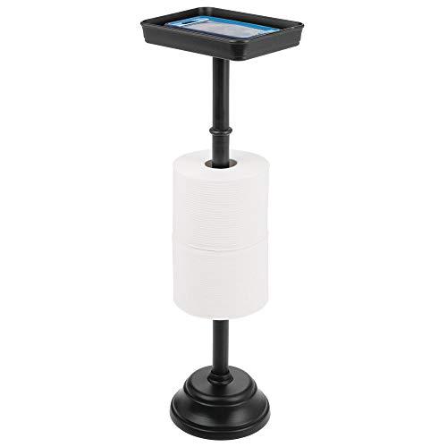 mDesign Toilettenpapierhalter für zwei WC-Rollen – zeitloser Papierrollenhalter mit Ablagefläche – Klopapierhalter und Ablage für Bücher, Handys etc. – schwarz